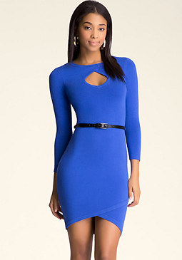 bebe Twisted Neck Sweater Dress