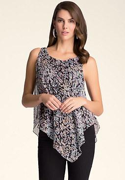 bebe Print Silk Tunic