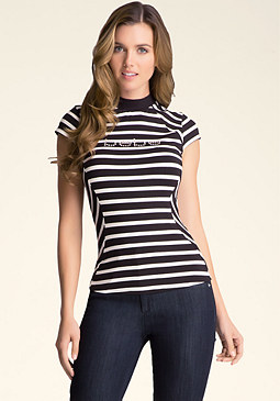 bebe Striped Mock Neck Top
