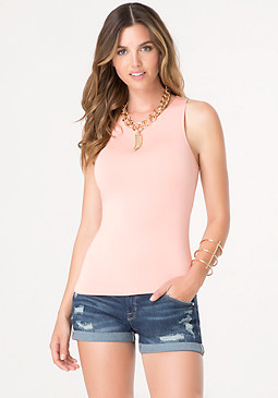 bebe Shirred Racerback Top