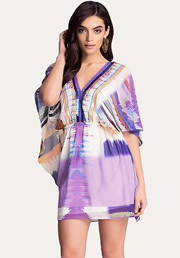 bebe Print Capelet Dress