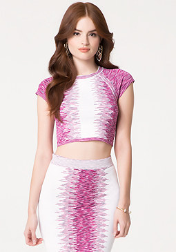 bebe Broken Space Dye Crop Top