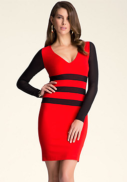 bebe Contrast Inset Waist Dress