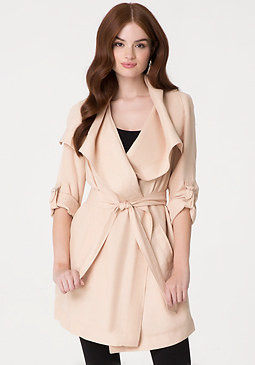 bebe Drape Collar Trench Coat