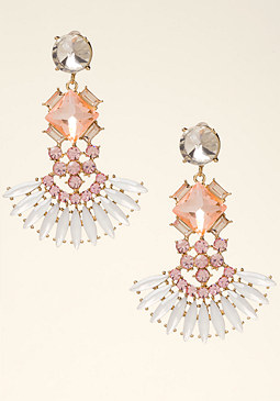 bebe Geo Stone Petal Earrings
