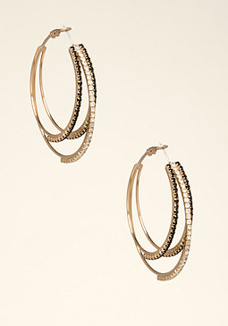 bebe Multicolor Hoop Earrings