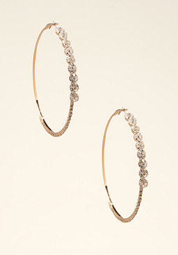 bebe Crystal Lined Hoop Earrings