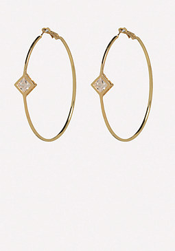 bebe Geo Crystal Hoop Earrings