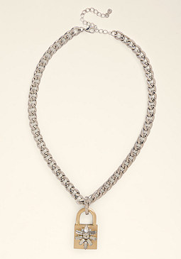 bebe Padlock Pendant Necklace