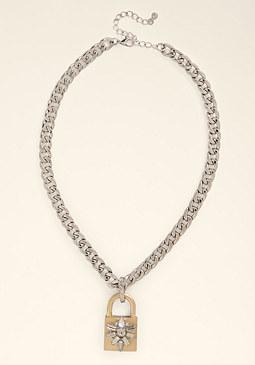 bebe Padlock Pendant Necklace