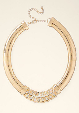 bebe Coil & Chainlink Necklace