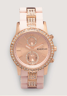 bebe Rhinestone Sports Watch