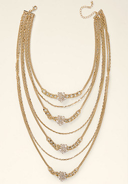 bebe Long Crystal Tier Necklace