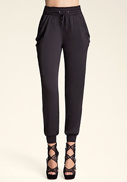 bebe Charmeuse Cowl Pocket Pants