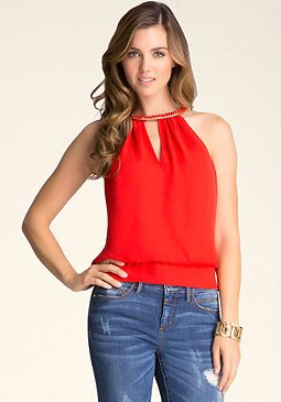 bebe Chain Neck Top