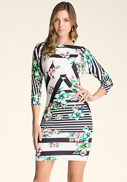 bebe Petal Pusher Boatneck Dress