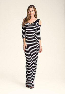 Petite Angled Stripe Maxi Dress at bebe