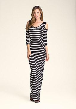 Petite Angled Stripe Maxi Dress at bebe