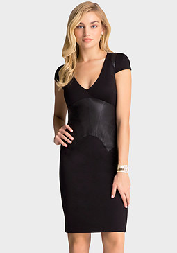 bebe Leather Corset Ponte Dress