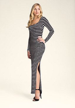 Petite Striped Maxi Dress at bebe