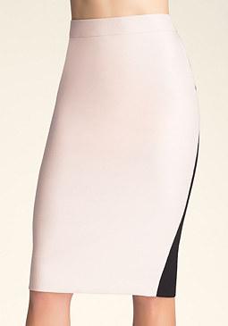 bebe Contrast Back Midi Skirt