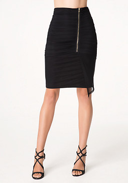 bebe Ruched Mesh Skirt
