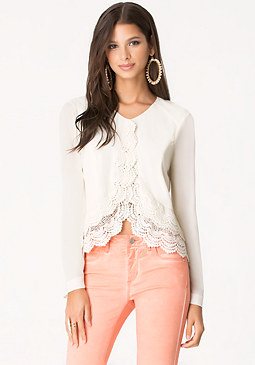 bebe Tiered Lace Trim Jacket