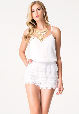 bebe Lace Tiered Romper