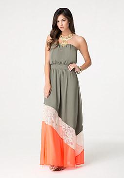 bebe Tricolor Maxi Dress