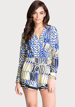 Long Sleeve Surplice Romper at bebe