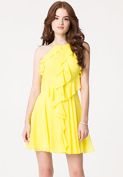 bebe Ruffle Georgette Dress