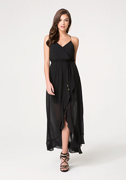bebe Surplice Hi-Lo Maxi Dress