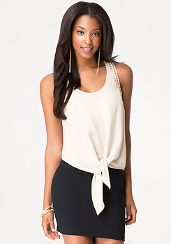 bebe Solid Studded Tie Front Top
