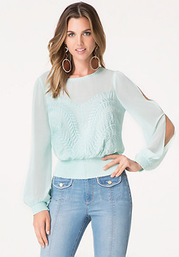 bebe Embroidered Long Sleeve Top