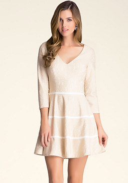 bebe Petite Lace Flared Dress