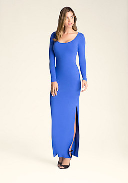 bebe Petite High Slit Maxi Dress