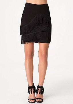 bebe Asymmetric Fringe Skirt