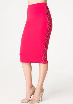 bebe Macrame Detail Midi Skirt