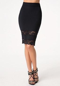 bebe Lace Inset Midi Skirt