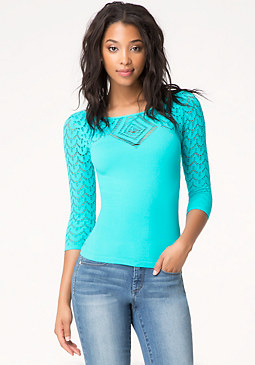 bebe Scalloped Lace Top