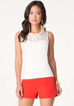 bebe Lattice Yoke Top