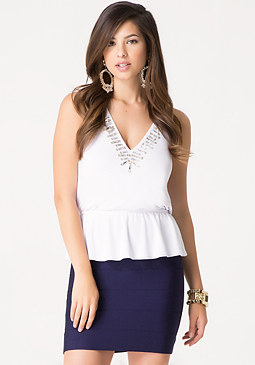 bebe Embellished Halter Top