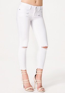bebe Destroyed Moto Crop Jeans
