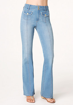 bebe Flared Leg Denim Trousers