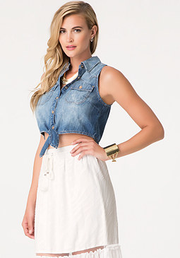 bebe Denim Tie Front Shirt