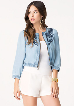 bebe Embroidered Bomber Jacket