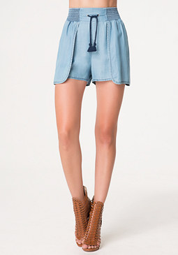 bebe Chambray Wrap Shorts