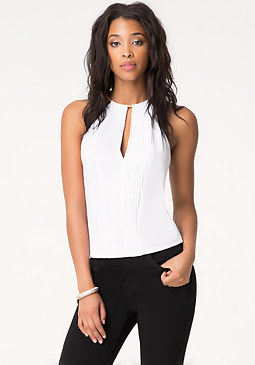 bebe Solid Pleat Front Top