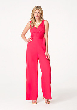 bebe Shirred Crepe Jumpsuit