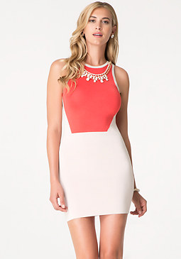bebe Necklace Trim 2-Tone Dress